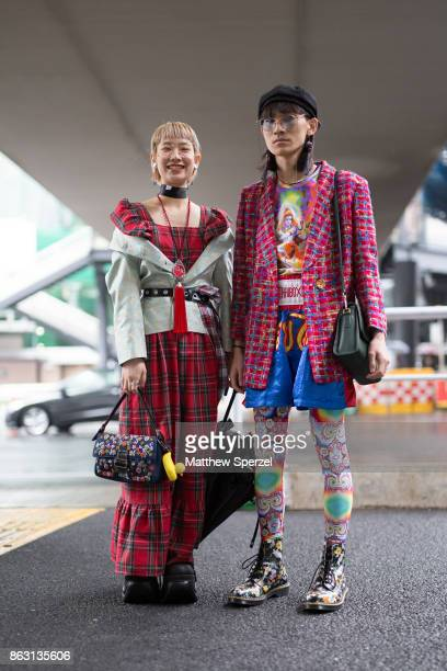 Guests are seen on the street attending Tokyo Fashion Week on October 19 2017 in Tokyo Japan