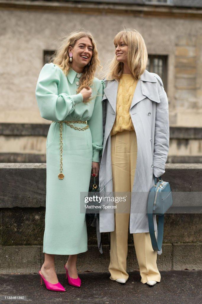 Street Style - Paris Fashion Week Womenswear Fall/Winter 2019/2020 : Day Seven : Nieuwsfoto's