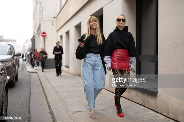 Guests are seen on the street attending Y/PROJECT during Paris Fashion Week AW19 wearing Y/PROJECT on February 28 2019 in Paris France