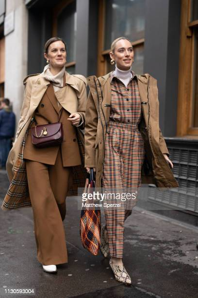 Guests are seen on the street during London Fashion Week February 2019 on February 18 2019 in London England
