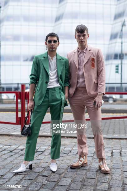 Guests are seen on the street during Men's New York Fashion Week on February 05 2019 in New York City