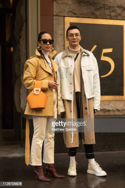 Guests are seen on the street during New York Fashion Week AW19 wearing Michael Kors on February 13 2019 in New York City