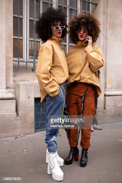 Guests are seen on the street during Paris Men's Fashion Week on January 16 2019 in Paris France