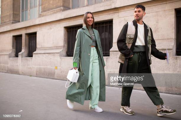 Guests are seen on the street during Paris Men's Fashion Week on January 16, 2019 in Paris, France.