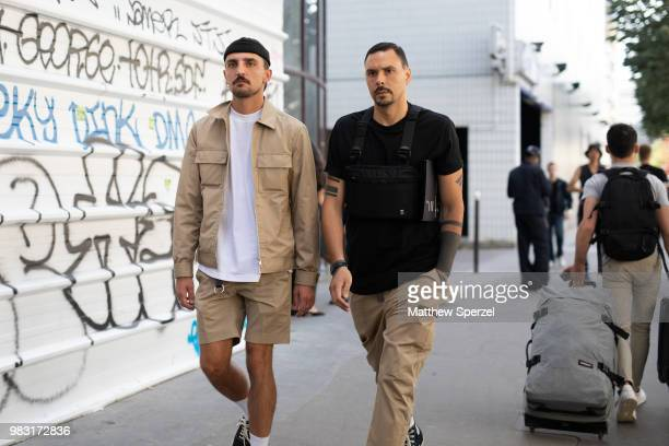 Guests are seen on the street during Paris Men's Fashion Week S/S 2019 on June 24 2018 in Paris France