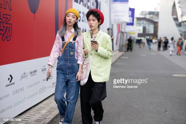 Guests are seen on the street during Shanghai Fashion Week SS19 on October 12 2018 in Shanghai China
