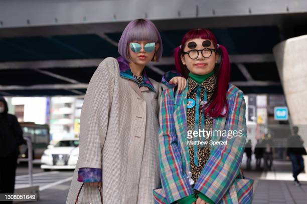 Guests are seen on the street during the Rakuten Fashion Week Tokyo 2021 autumn/winter on March 20, 2021 in Tokyo, Japan.