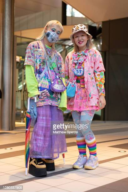 Guests are seen on the street wearing colorful outfits during the Rakuten Fashion Week Tokyo 2021 Spring/Summer on October 15, 2020 in Tokyo, Japan.