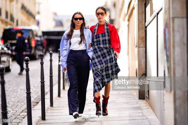Guests are seen outside Altuzarra during Paris Fashion Week Womenswear Spring/Summer 2019 on September 29 2018 in Paris France