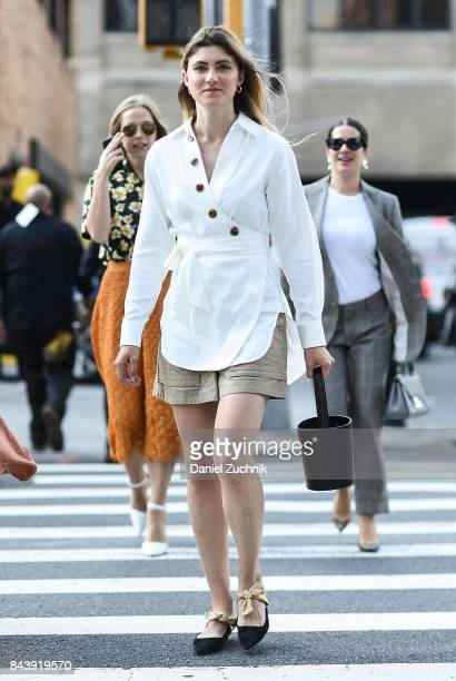 Guests are seen outside the Brock Collection during New York Fashion Week Women's S/S 2018 at Skylight Clarkson Sq on September 7 2017 in New York...