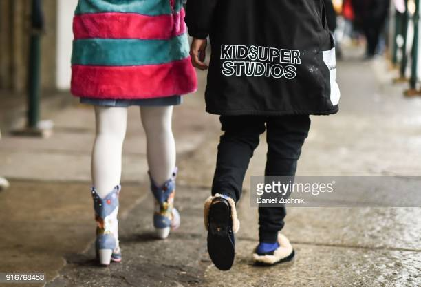 Guests are seen outside the Christian Cowan show during New York Fashion Week Women's A/W 2018 on February 10 2018 in New York City