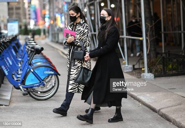 Guests are seen outside the Christian Siriano show during New York Fashion Week F/W21 on February 25, 2021 in New York City.