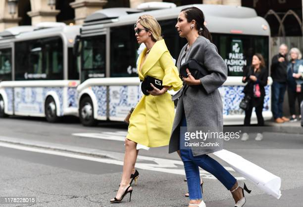 Guests are seen outside the Giambattista Valli show during Paris Fashion Week SS20 on September 30, 2019 in Paris, France.