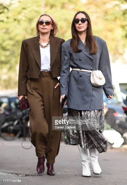 Guests are seen outside the Haider Ackermann show during Paris Fashion Week SS20 on September 28, 2019 in Paris, France.