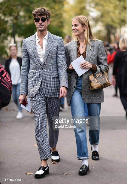 Guests are seen outside the Nina Ricci show during Paris Fashion Week SS20 on September 27, 2019 in Paris, France.