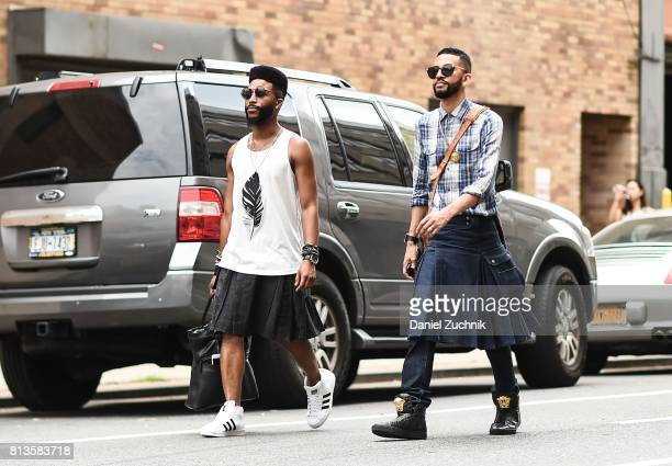 Guests are seen outside the Parke Ronen show during New York Fashion Week Men's S/S 2018 at Skylight Clarkson Sq on July 12 2017 in New York City