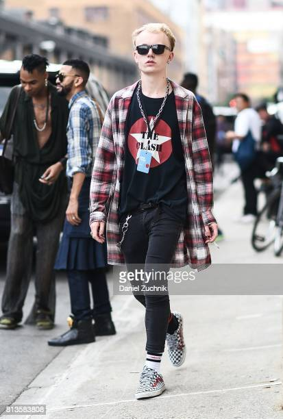 Guests are seen outside the Parke & Ronen show during New York Fashion Week: Men's S/S 2018 at Skylight Clarkson Sq on July 12, 2017 in New York City.