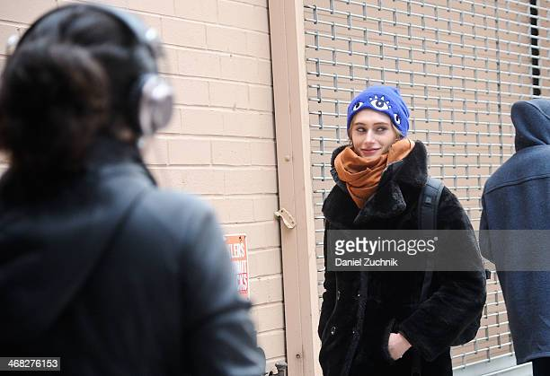 Guests are seen outside the Thakoon show on February 9, 2014 in New York City.