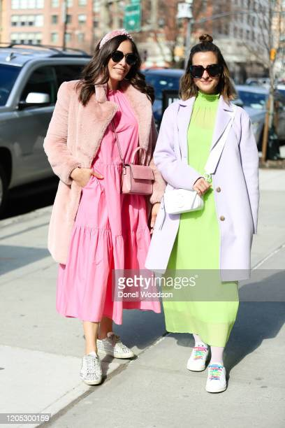 Guests are seen posing outside of Spring Studios during New York Fashion Week on February 09 2020 in New York City