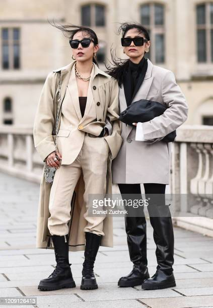 Guests are seen seen wearing Paco Rabanne outfits outside the Paco Rabanne show during Paris Fashion Week: AW20 on February 27, 2020 in Paris, France.