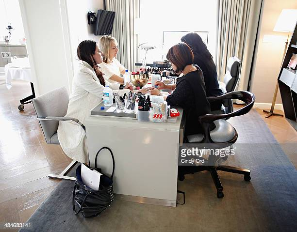 Guests are treated to manicures as Wedding Paper Divas with Marchesa unveil their new bridal stationery collection at The London Hotel on April 10...