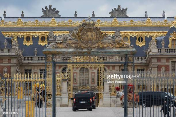 Guests arrivals at the 'Chateau de Versailes' ahead Kanye West and Kim Kardashian's prewedding dinner on May 23 2014 in Versailles France