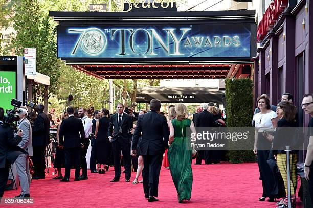 Guests arrive at FIJI Water at 2016 Tony Awards at The Beacon Theatre on June 12 2016 in New York City