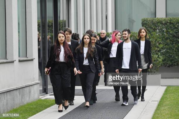 Guests arrive at the Giorgio Armani show during Milan Fashion Week Fall/Winter 2018/19 on February 24 2018 in Milan Italy
