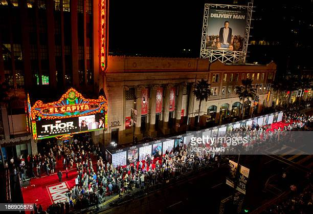 Guests arrive at the premiere of Marvel's 'Thor: The Dark World' at the El Capitan Theatre on November 04, 2013 in Hollywood, California.AFP...