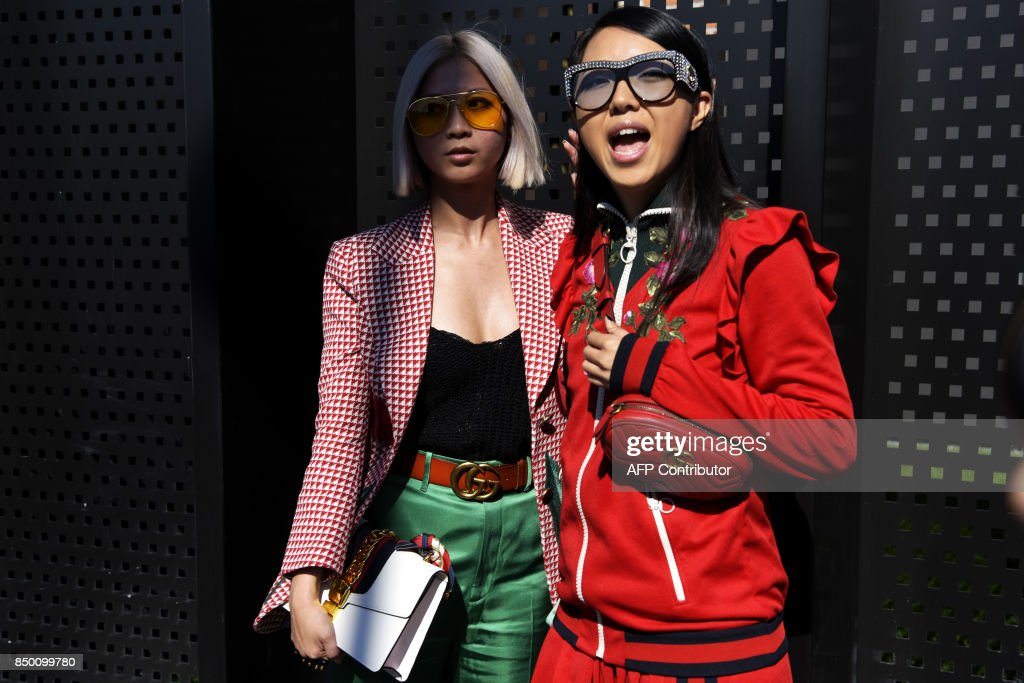 Guests arrive at the show for fashion house Gucci during the Men and ...