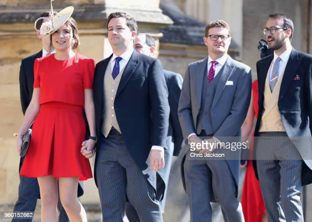 Guests arrive at the wedding of Prince Harry to Ms Meghan Markle at St George's Chapel Windsor Castle on May 19 2018 in Windsor England Prince Henry...