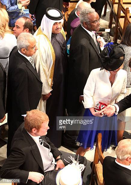 Guests arrive at Westminster Abbey in London ahead of the Royal Wedding of Britain's Prince William and Kate Middleton on April 29 2011 AFP PHOTO /...