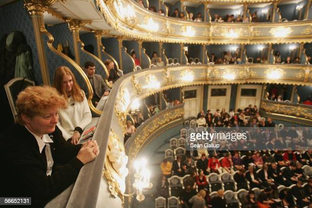 Guests arrive for a performance at the EstatesTheatre where in 1787 Austrian composer Wolfgang Amadeus Mozart premiered his 'Don Giovanni' opera...