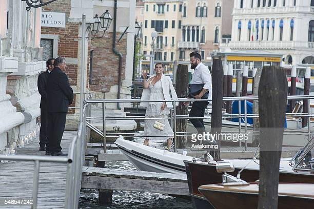 Guests arrive for dinner at the Aman Grand Canal hotel after the civil marriage of Bastian Schweinsteiger and Ana Ivanovic on July 12 2016 in Venice...
