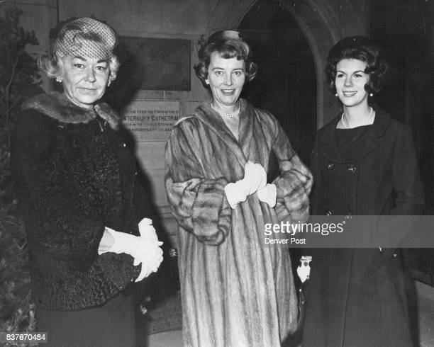 Guests Arrive For Monday Afternoon Wedding Mrs Harry Rheem Mrs Theodore Pate and Mrs Stephen Pate from left chat before the wedding of Miss Susan...