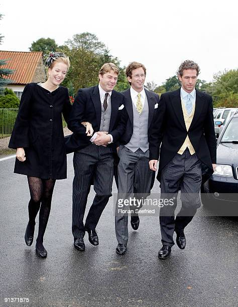 Guests arrive for the church wedding of Barbara Schoeneberger and Maximilian von Schierstaedt at the church of Rambow on October 3 2009 in Rambow...