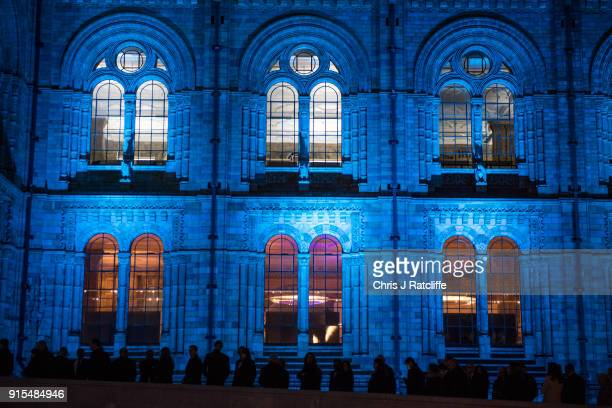Guests arrive for the Conservative party Black and White Ball at Natural History Museum on February 7, 2018 in London, England. The ball is a...