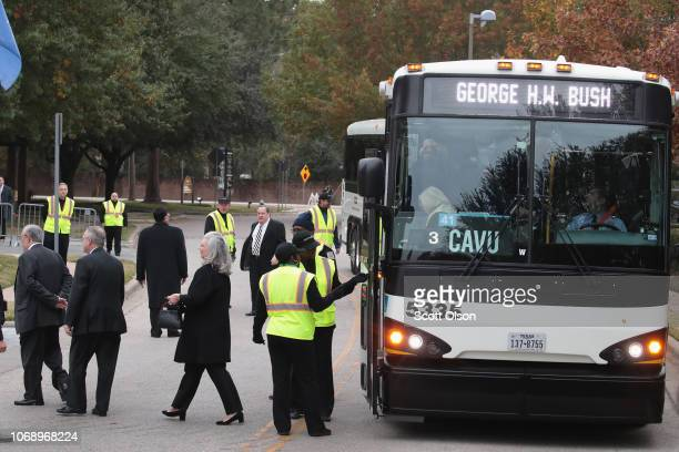 Guests arrive for the funeral of President George HW Bush at St Martin's Episcopal Church on December 6 2018 in Houston Texas Bush who died on...