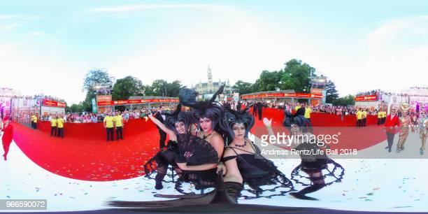 Guests arrive for the Life Ball 2018 at City Hall on June 2 2018 in Vienna Austria The Life Ball an annual charity event raising funds for HIV AIDS...