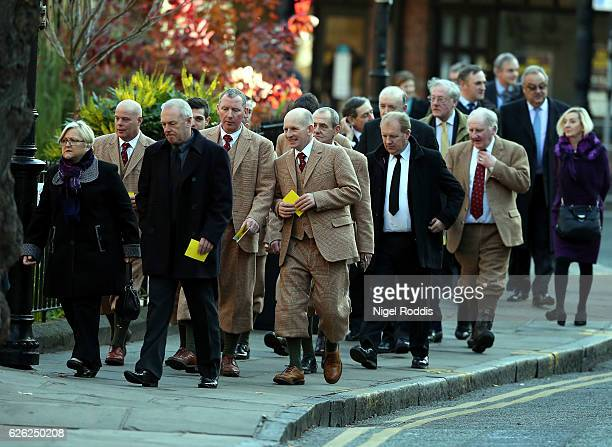 Guests arrive for the memorial service of The Duke of Westminster at Chester Cathedral on November 28 2016 in Chester England The Duke is survived by...
