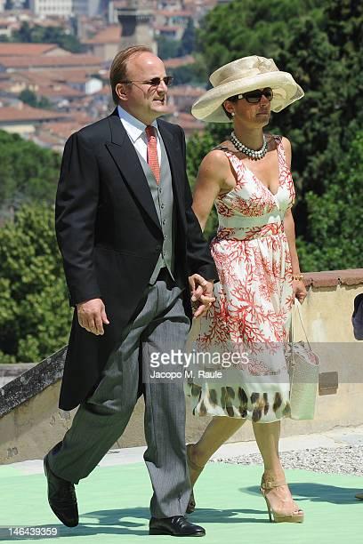 Guests arrive for the Princess Carolina Church Wedding With Mr Albert Brenninkmeijer at Basilica di San Miniato al Monte on June 16, 2012 in...