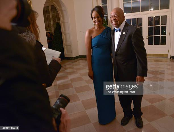 Guests arrive including Rep Elijah Cummings and Dr Maya Rockeymoore Cummings for the state dinner in honor of French President Hollande on February...