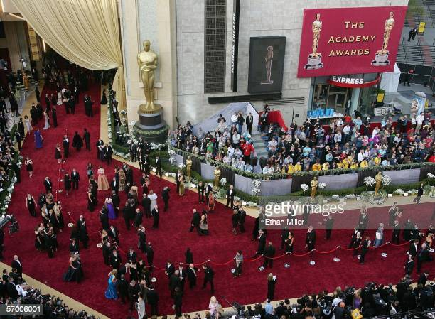 Guests arrive on red carpet outside the Kodak Theatre before the 78th Annual Academy Awards March 5 2006 in Hollywood California