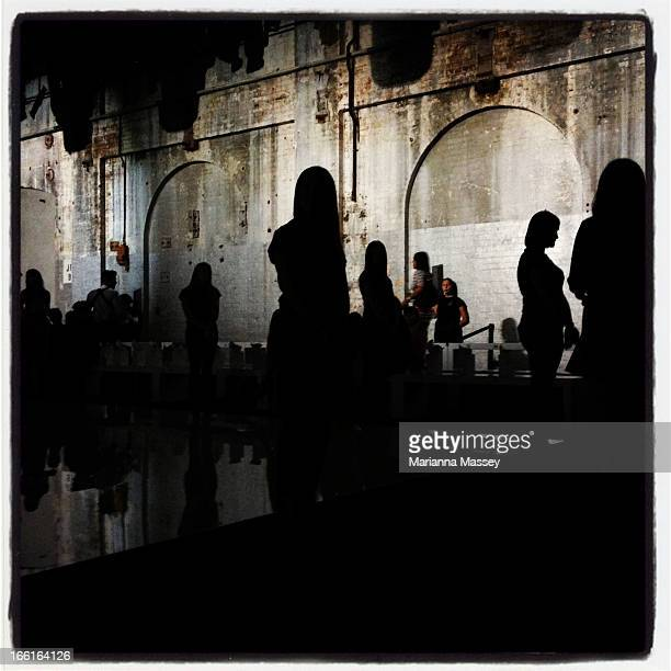 Guests arrive prior to the Maticevski show during MercedesBenz Fashion Week Australia Spring/Summer 2013/14 at Carriageworks on April 9 2013 in...