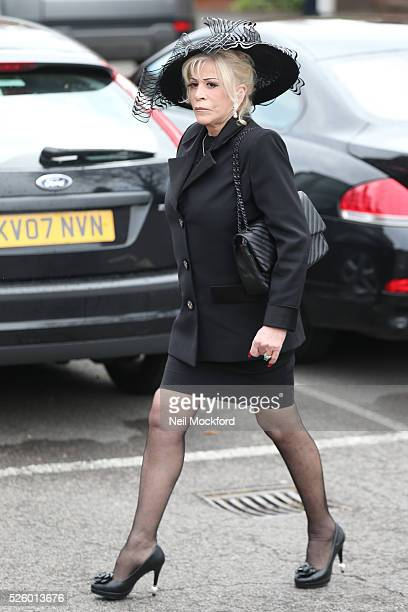 Guests arriving at the funeral of David Gest at Golders Green Crematorium on April 29 2016 in London England