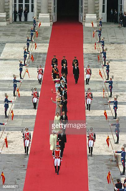 Guests arriving for the wedding of Spanish Crown Prince Felipe de Bourbon at the ceremony where he will marry former journalist Letizia Ortiz at the...