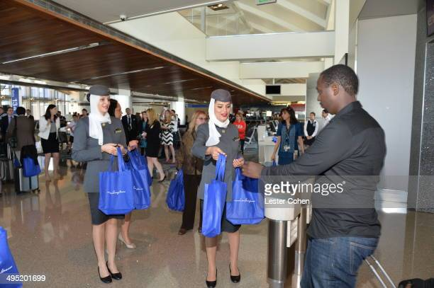 Guests arriving on inaugural Etihad Airways' flight EY171 from Abu Dhabi receive gift bags compliments of Los Angeles Tourism and Convention Board at...