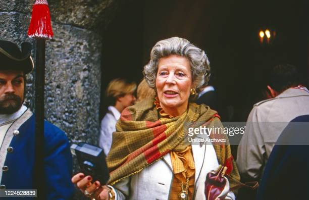 Guests at a brunch on Hohensalzburg fortress Austria 1986