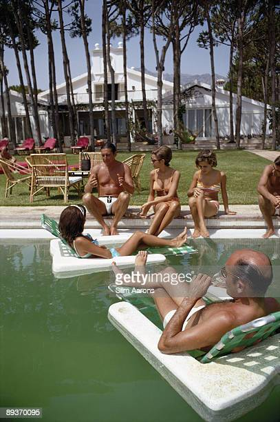 Guests at a party at the home of Sebastiano Bergese in Marbella Spain August 1967