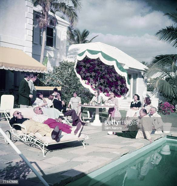 Guests at a pool party Palm Beach Florida circa 1955
